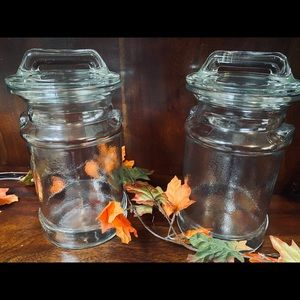 2 Glass Milk Can Canisters